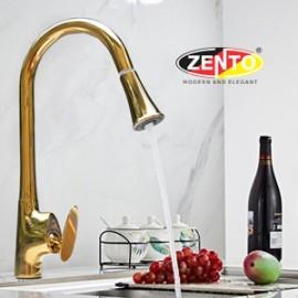 Vòi rửa bát nóng lạnh Pulldown Spray ZT5505-gold (Dây rút)