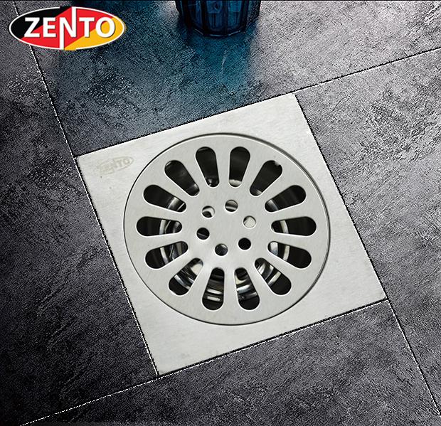 Phễu thoát sàn chống mùi inox304 Zento TS123-304 (118x118mm)