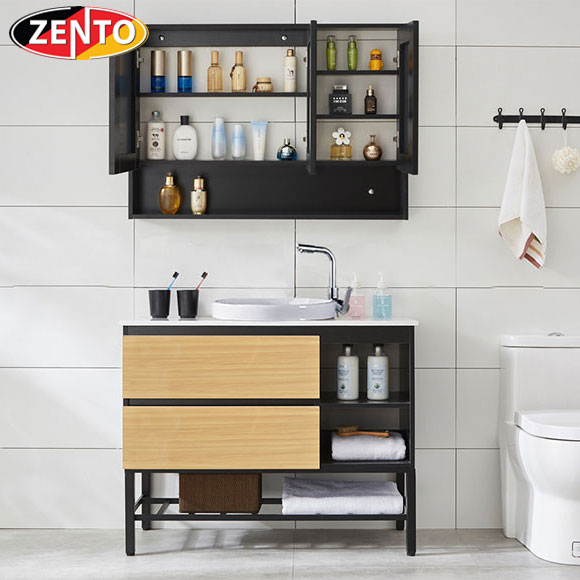 Bộ tủ, chậu, bàn đá, kệ gương Lavabo  ZT-LV892-1FT (cánh Laminate vân gỗ)