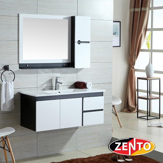 Bộ tủ, chậu, kệ gương Lavabo black and white ZT-LV996