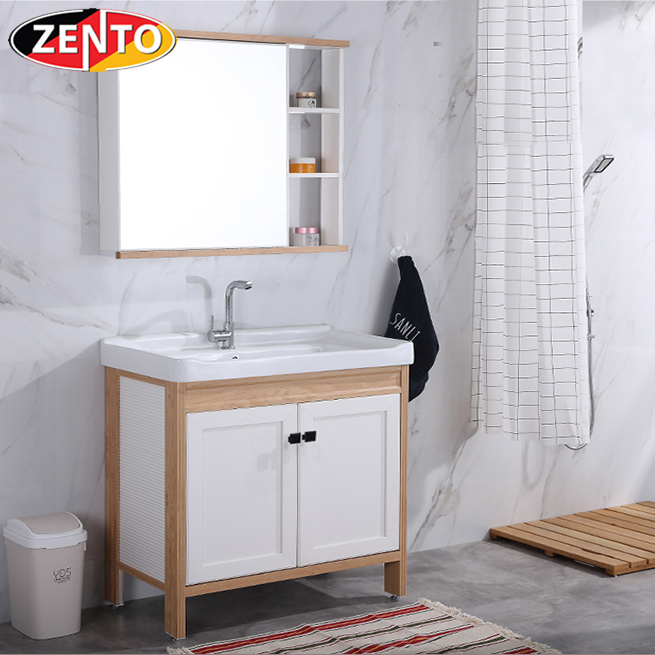 Bộ tủ, chậu, kệ gương Lavabo ZT-LV1072 (Aluminum)
