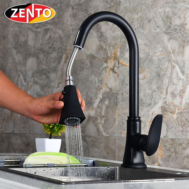 Vòi rửa bát nóng lạnh Pulldown Spray ZT5508-Black (Dây rút)
